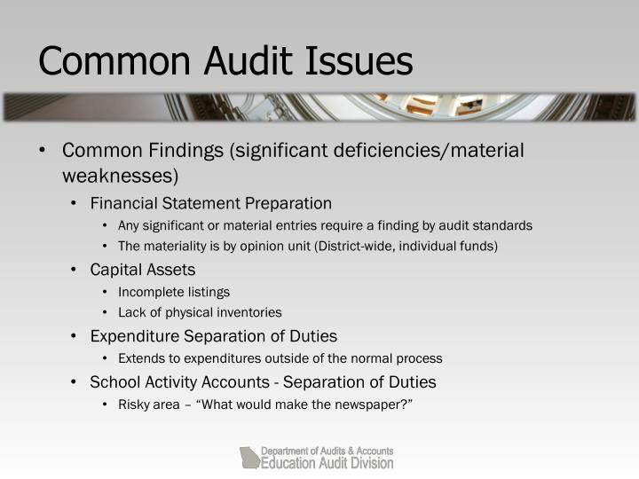 Common Audit Issues