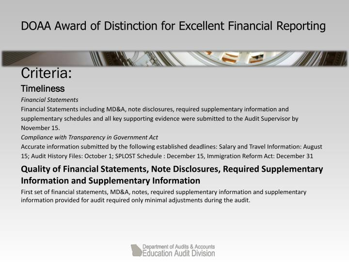 DOAA Award of Distinction for Excellent Financial