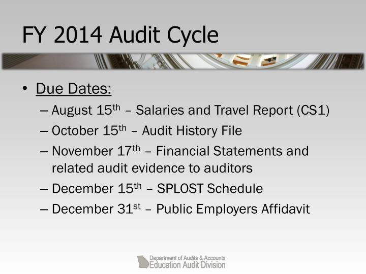 FY 2014 Audit Cycle