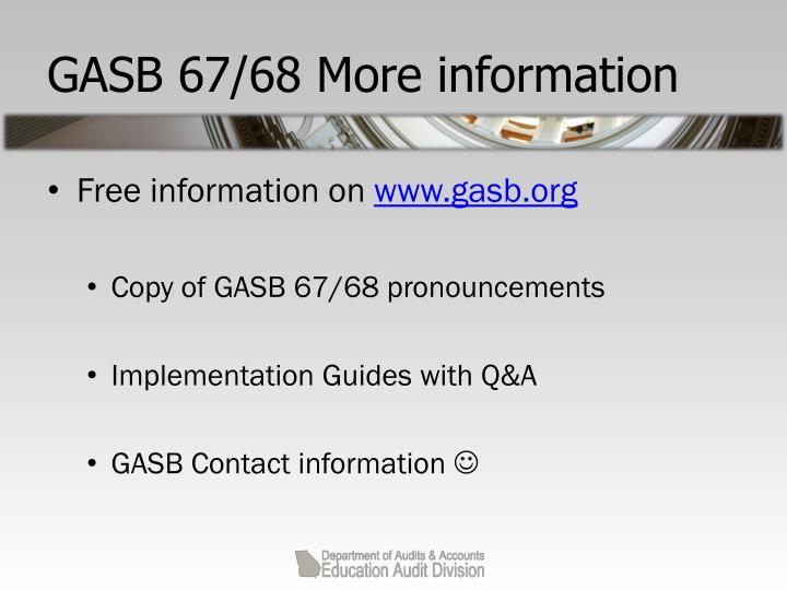 GASB 67/68 More information