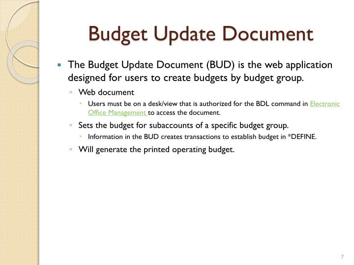 Budget Update Document
