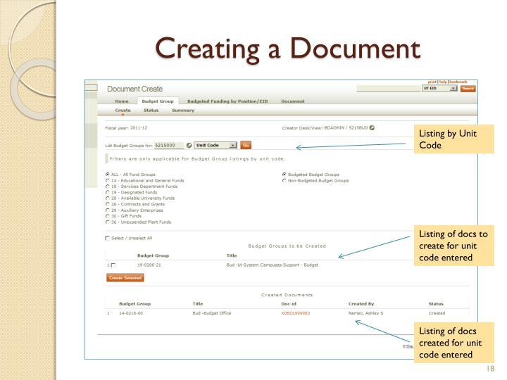 Creating a Document