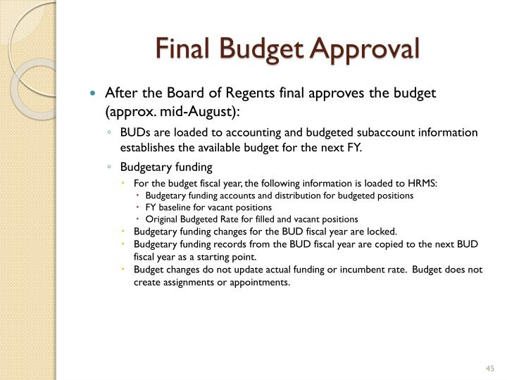 Final Budget Approval