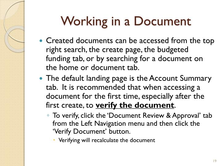 Working in a Document