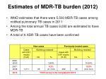 estimates of mdr tb burden 2012