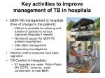key activities to improve management of tb in hospitals