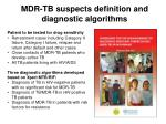mdr tb suspects definition and diagnostic algorithms