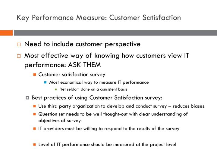 Key Performance Measure: Customer Satisfaction
