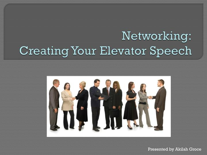 networking creating your elevator speech n.