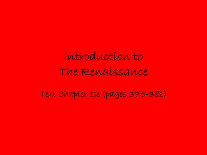 introduction to the renaissance n.