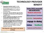 technology provider benefit