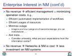 enterprise interest in nm cont d