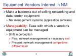 equipment vendors interest in nm