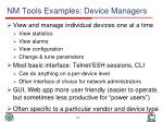 nm tools examples device managers