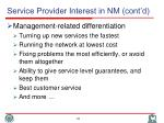 service provider interest in nm cont d