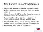 non funded senior programmes