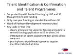 talent identification confirmation and talent programmes
