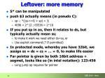 leftover more memory