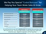 we pay you special coded bonuses for helping your team make sales grow