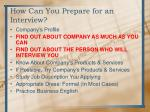 how can you prepare for an interview