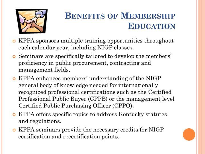 Benefits of Membership Education