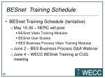 besnet training schedule