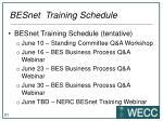 besnet training schedule1