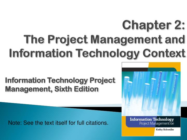 chapter 2 the project management and information technology context n.
