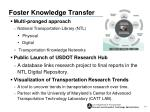 foster knowledge transfer