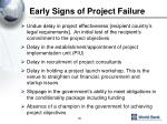early signs of project failure1
