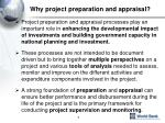 why project preparation and appraisal