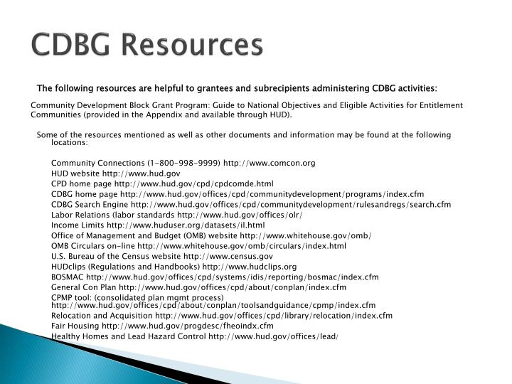 CDBG Resources