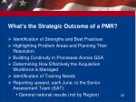 what s the strategic outcome of a pmr