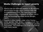 media challenges to report poverty