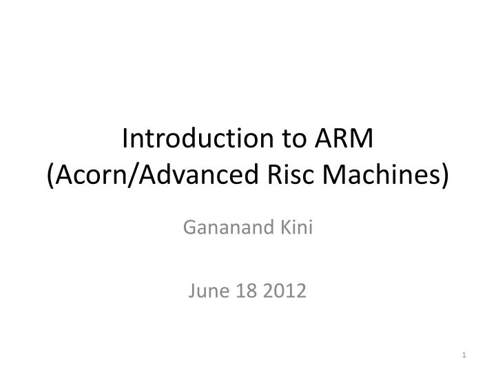 introduction to arm acorn advanced risc machines n.