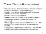 thumb2 instruction set means