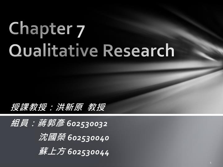 chapter 7 qualitative research n.