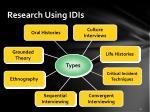 research using idis