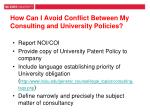how can i avoid conflict between my consulting and university policies