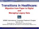 transitions in healthcare migration from paper to digital and managing legacy data