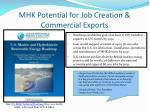 mhk potential for job creation commercial exports