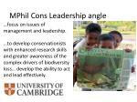 mphil cons leadership angle