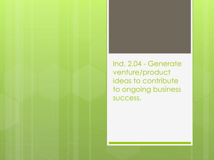 ind 2 04 generate venture product ideas to contribute to ongoing business success n.