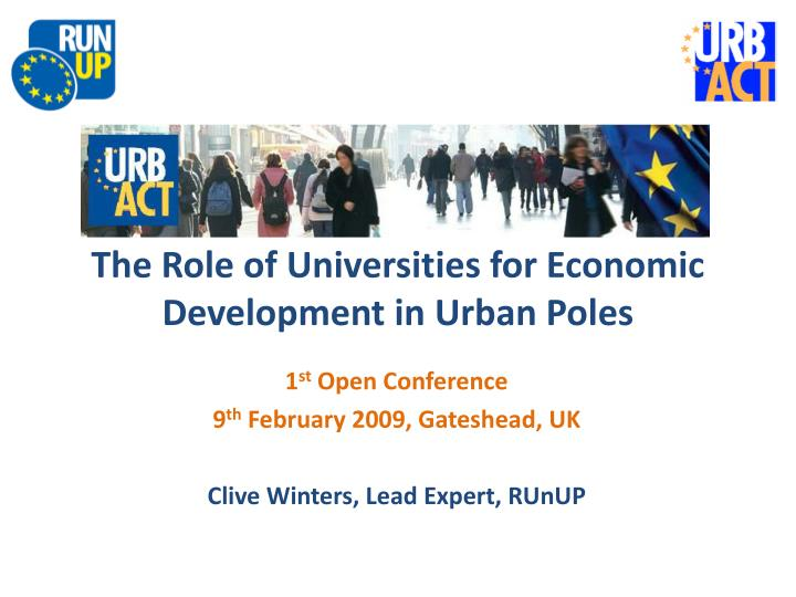 the role of universities for economic development in urban poles n.