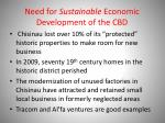 need for sustainable economic development of the cbd