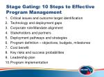 stage gating 10 steps to effective program management