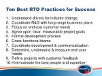ten best rto practices for success