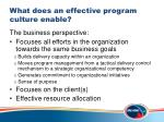 what does an effective program culture enable