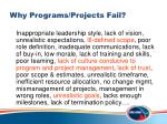 why programs projects fail
