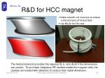 r d for hcc magnet
